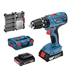 Bosch Professional 18V System Battery Impact Drill GSB 18V-21 (incl. 2x2.0 Ah batterij, 40pcs Accessoires set, in L-BOXX) - Amazon Edition*