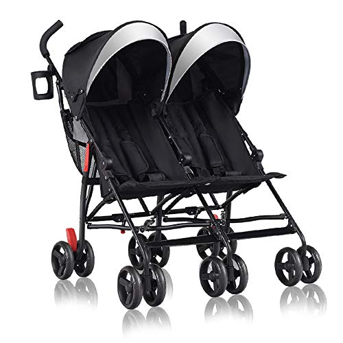 C-CHAIN Ultra-Lightweight Double Stroller - Side by Side Umbrella Stroller, Foldable Twin Infant Toddler Stroller with 5-Point Harness, Adjustable Sun Canopy for Baby Toddlers (Black)