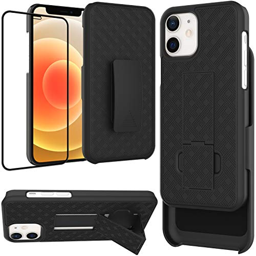 Ailiber Case Compatible with iPhone 12 /12Pro, Belt Clip Holster Screen Protector for iPhone12, Kickstand Holder Slim Rugged Shockproof Protective Cover for iPhone 12 Pro / iPhone12 6.1 inch - Black