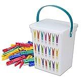 Contenitore per mollette di plastica con manico coperchio scatola portaoggetti per lavanderia...
