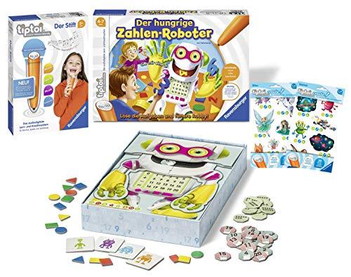 tiptoi Ravensburger 008018 Der Stift & Tiptoi 00706 - Spiel: Der hungrige Zahlen-Roboter Lernspiel für Kinder von 4 - 7 Jahre + 2 x Create Sticker (Verschiedene Auslieferungen)