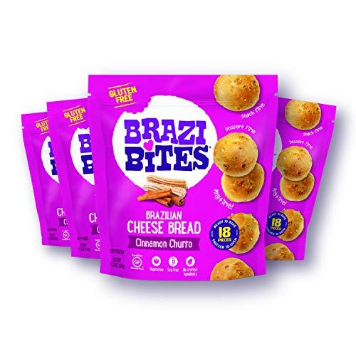 Brazi Bites Gluten-Free Brazilian Cheese Bread: Cinnamon Churro|VegetarianFrozen Bread Snacks|Soy-Free |No Artificial Ingredients|No Preservatives| 11.5 oz. pouches (4-pack)