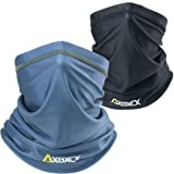 AXBXCX 2 Pack Neck Gaiter Elastic Seamless Moisture Wicking Fishing Face Mask Non Slip Breathable Sun Dust Wind UV Protection Headband Bandana for Men Women Black + Gray