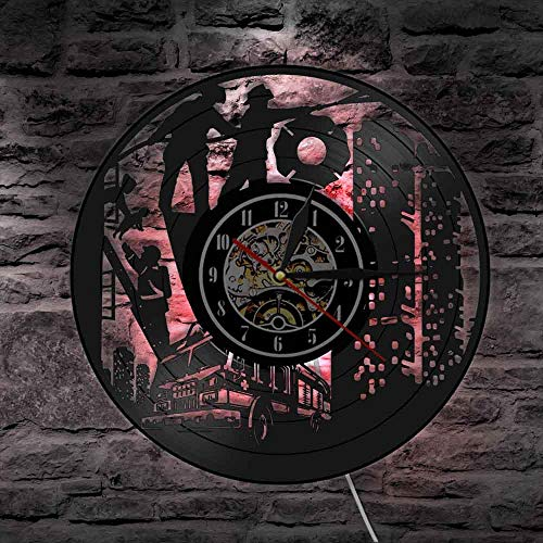 Feuerwehrmann Silhouette Schallplatte Wanduhr Feuerwehr Feuerwehr Wand Art Deco Retro Feuerwehr Feuerwehrauto Nachtlicht