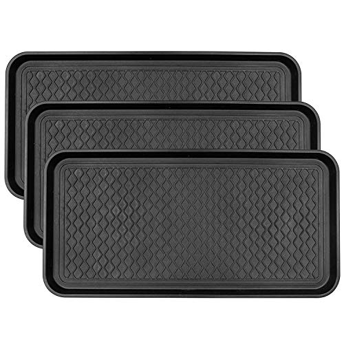 Fasmov 3 Pack Friendly Utility Boot Tray Mat Multi-Purpose Anti-Slip Tray Mat Boots, Dog Food Bowls, Gardening, Laundry, Kitchen, Garage, Entryway, 30 x 15 inches