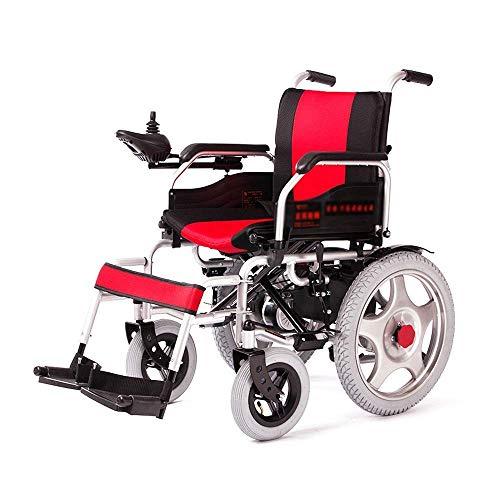NADAENW Lichtgewicht aluminium elektrische rolstoel, de draagbare 4-wielige rollator voor verzorgingswagen vouwen, rood