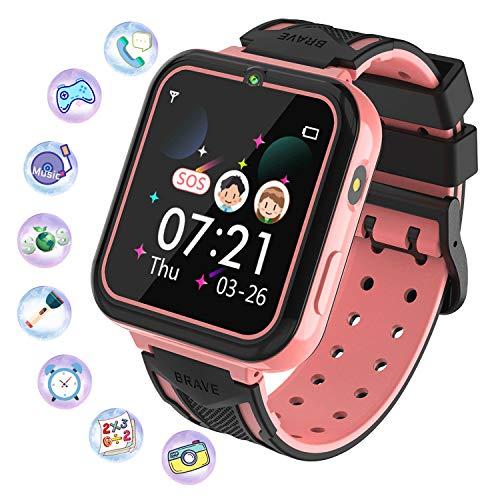 Kinder Smartwatch, Smart Watch Phone mit Musik-Player, SOS, 1,55 Zoll LCD-Touchscreen-Uhr mit Digitalkamera, Spielen, Taschenlampe, Zwei Wege Gespräch, Wecker für Jungen und Mädchen(Rosa)