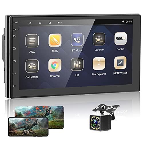 Podofo Autoradio mit navi,Android Doppel Din 7 Inch Bildschirm Bluetooth Touchscreen Rückfahrkamera Freisprecheinrichtung Car Stereo WiFi/GPS/FM/BT/Mirror Link