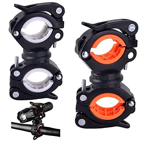 Soporte de Luz de Bicicleta 2 Piezas Clip para Lámpara de Linterna de Bicicleta Soporte de Montaje de Linterna Antideslizante Versátil Universal 360 Grados para Instalar Linterna LED