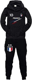 Fútbol Francia 2 estrellas sudaderas con capucha + pantalones chándal para niño Screenprint Hoodie – Jersey para niño 8 12...
