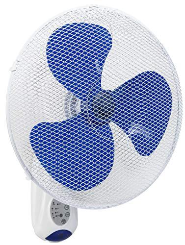 Bestron wandventilator met afstandsbediening, continu gebruik van 7,5 uur, hoogte: 50 cm, Ø 40 cm, 45 W, wit