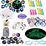 foci cozi Outer Space Party Favors Supplies,Tattoo Sticker Bouncy Ball Bracelet Space Badge Luminous...