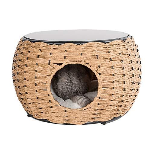 Rieten Huisdier Bed, Gesloten Stijl Vier Seizoenen Universele Kattenhuis Villa Rotan Moderne Meubels Salontafel - Binnen/Buiten