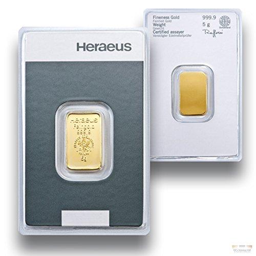 Goldbarren 5g - 5 Gramm Gold - Heraeus - Feingold 999.9 - Prägefrisch - LBMA zertifiziert