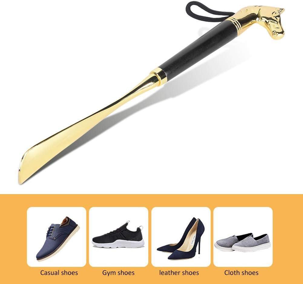Cuerno de Black 32CM Horse Head Shoehorn Cabeza de Caballo Cuerno de Zapato Nunafey Cuerno de Zapato para Mujer Calzador con Mango