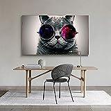 Leinwand Gemälde Katze Brille Sonnenbrille Tapete Poster