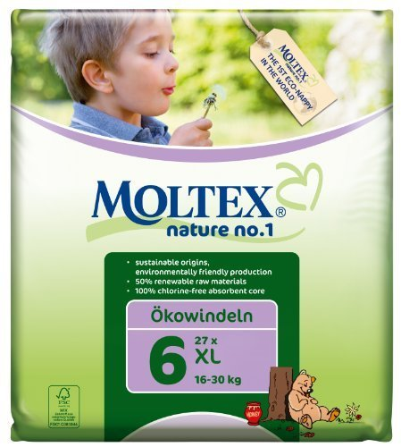 Moltex Nature No1 Eco Nappy XL Size 6 (16-30 kg/35-66 lb)--Pack of 27 Nappies by Ontex