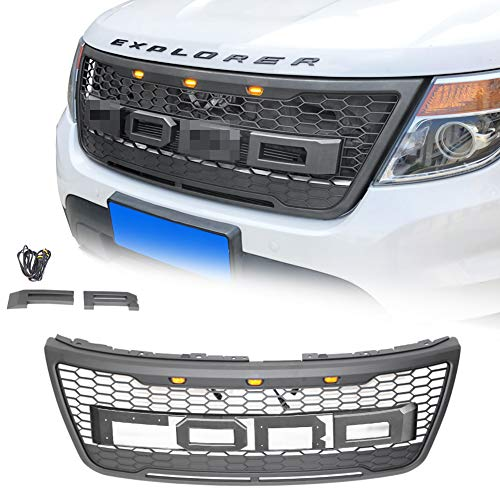 VZ4X4 GRAY Raptor Style Grill Mesh Grille, Compatible with Ford Explorer 2012-2015 (IT IS GRAY)