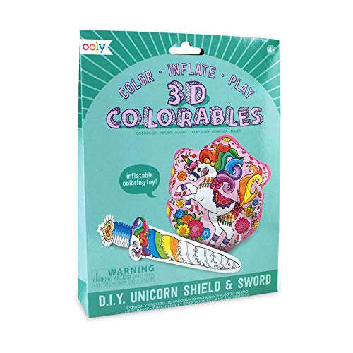 Ooly 3D Colorables Coloring Toys, (Set of 2) - Unicorn Shield & Sword