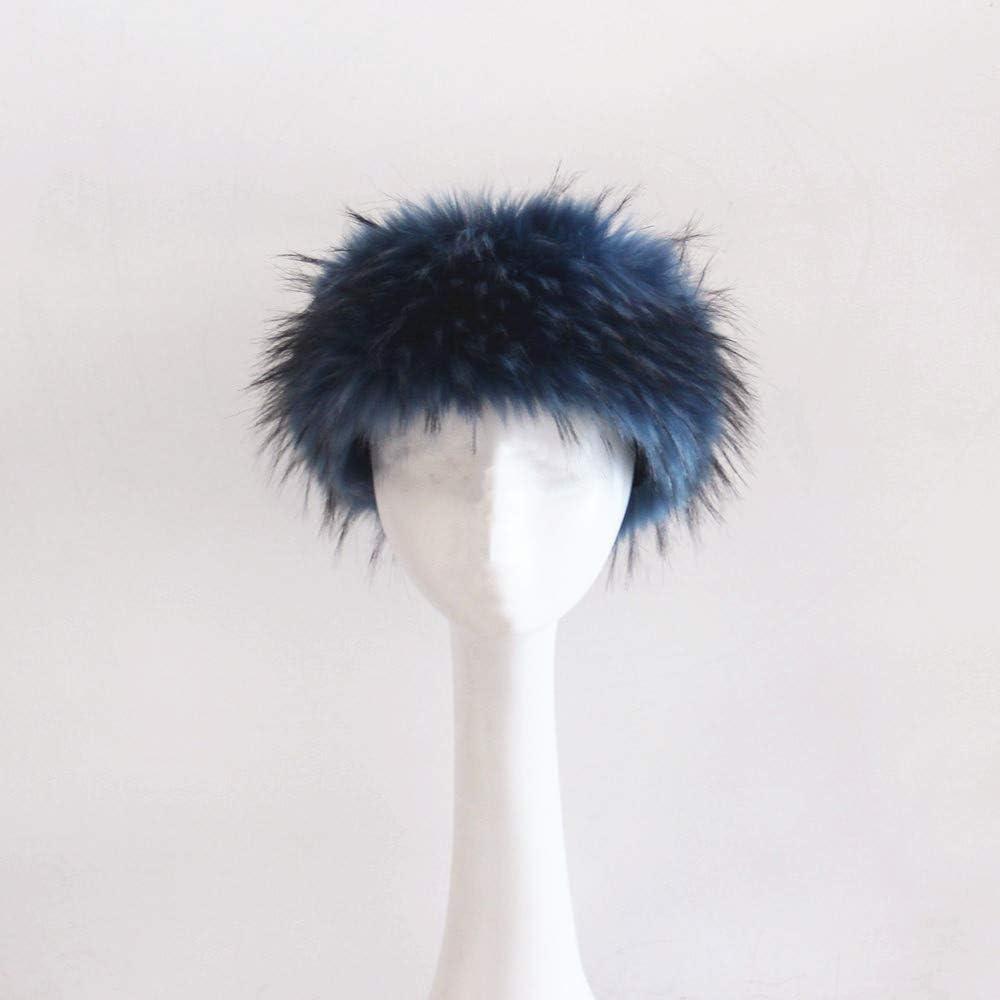 Janveny Womens Faux Fox//Raccoon Fur Headband with Stretch Multiple Colors Winter Warmer Earwarmer Earmuff