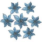 GCDN 10 Piezas Flores Artificiales Brillo Flor de Pascua decoración del árbol de Navidad Maceta Flores Decorativas decoración del Partido