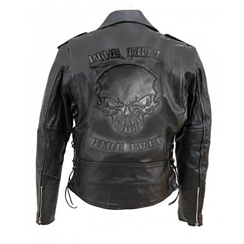Hells Design Perfecto Lederjacke mit Totenkopf