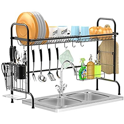 Over the Sink Dish Drying Rack, GSlife Stable Stainless Steel Dish Drying Rack Kitchen Organizer Dish Drainer Shelf for Kitchen Counter by GSlife