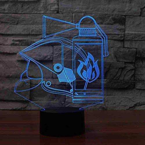 Brandwering gereedschap 3D tafellamp 7 kleuren LED Touch Nachtlampje kinderen geschenken USB Fire Kit baby slaap lamp decor