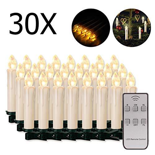 20/30/40/50/60 stk LED Kerzen LED Lichterkette Kabellos Dimmbar Kerzenlichter Flammenlose Weihnachtskerzen für Weihnachtsbaum, Weihnachtsdeko, Hochzeit, Geburtstags, Party (milchweisse Hülle, 30stk)