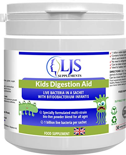 Kids Digestion Aid - Healthy Levels of Intestinal Flora - Helps Keep Tummies Healthy - Promotes Healthy Digestion - Suitable for Children of All Ages - Made in UK.