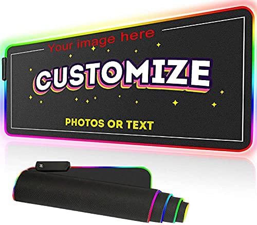 Benutzerdefiniertes Großes LED-RGB-Gaming-Mauspad 900 x 400 x 4 mm, Personalisierbares Mauspad XXXL, Wasserdicht&rutschfest, Schreibtischunterlage mit 12 Beleuchtungsmodi, für PC, RGB--Anpassung