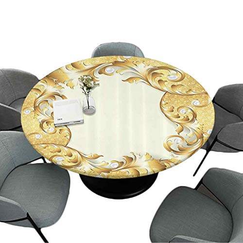 Elastic Edged Round Table Cloth, 70 Inch Round Table Cover for Kitchen and Dining Room, Illustration of a Frame with Ornaments and Pearls Baroque Style Floral Patterns, Cream Golden
