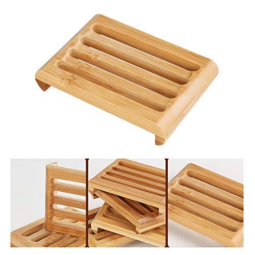 benhong Jabonera de madera natural de bambú para el hogar y el baño