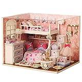 NSWMHDQ Casa de muñecas DIY Kit Miniatura con Cubierta de Madera y el LED muñeca de Juguete Casa Habitación Modelo Regalo de cumpleaños Artesanía