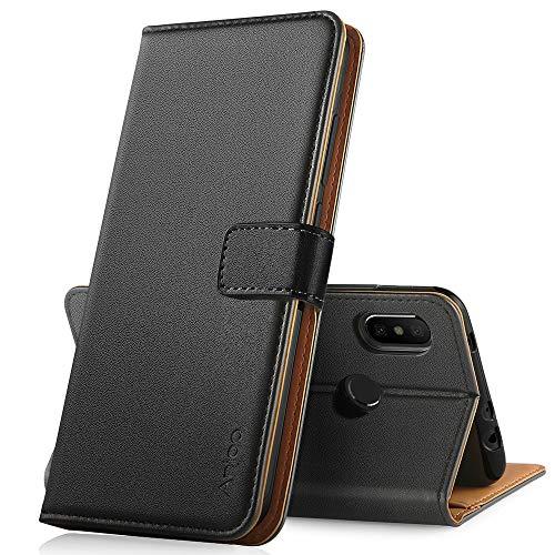 Anjoo Hülle Kompatibel mit Xiaomi Redmi Note 6 pro, Handyhülle Tasche Premium Leder Flip Wallet Case Kompatibel mit Redmi Note 6 Pro [Standfunktion/Kartenfächern/Magnetic Closure Snap] - Schwarz