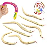 """wooden animals to paint - Natural Unfinished Wooden Wiggly Snakes - 12"""" Flexible Timber Snake - Blank Canvas - Great for Arts and Crafts - Themed Birthday Party Supplies, Halloween Prop - Animal Model Crafts Toys with 8 Pcs"""