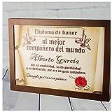 Calledelregalo Diplomas pergamino Personalizados para Todos los destinatarios (Al Mejor compañero) con Marco