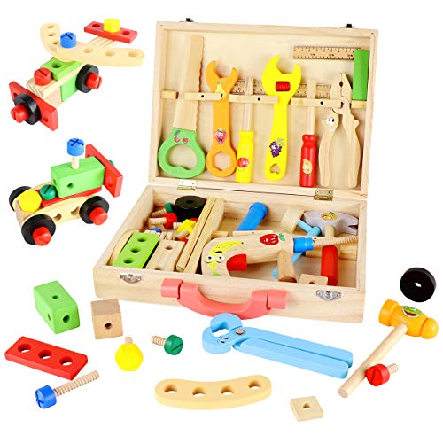 SEKKVY 48PCS Kids Wooden Tool Box, Colorful Wooden Tools Toys Set DIY Educational Construction Toy for 3 Year Olds and Up Boys Girls