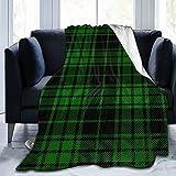 Mantas De Felpa, Patrón De Tartán En Negro Y Verde 150X125 Cm, Mantas para Sofá Y Cama, Manta De Microfibra De Felpa, Mantas Súper Suaves Y Cálidas