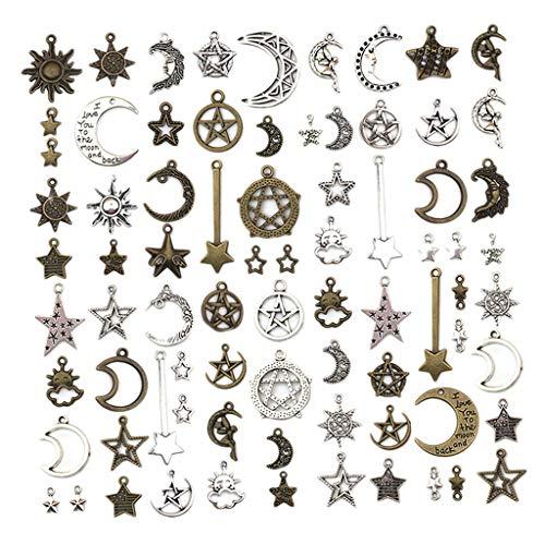 harayaa 76x Colgantes de Encantos de Estrella Y Luna de Plata Antigua, Fabricación de Joyas