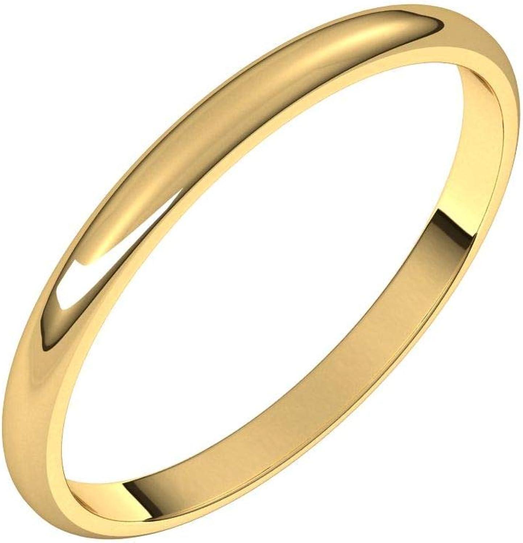 Diamond2Deal 10K Yellow 2 mm Half Light Round Band Ring Cheap mail free order sales Wedding