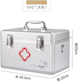 YRLHMYYH Medicine box Medium and small number of multi-layer aluminum lockable medicine cabinet waterproof home medicine chest (Color : 16 inch Silver)