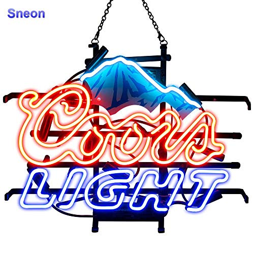 ZDQHLL Neon Sign-Neon Sign Coors Light Blue Mountain for Bedroom Garage Beer Bar Signs and Nightclub, Real Glass Neon Light Sign for Wall Decor Art