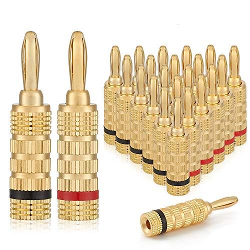 WGGE WG-3333 24k Gold Plated Speaker Banana Plugs-Closed Screw Type