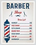 SIGNCHAT Barber Shop Price List Hair Stylist Beard Hairdresser Metal Sign Tin Plaque 1016 Metal Sign Bar Pub Home Metal Poster Wall Art Decor Tin Sign 8X12 Inches
