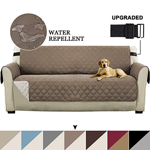 """Turquoize Reversible Sofa Slipcover Couch Cover Water Resistant Furniture Protector for Pets Seat Width Up to 78"""" Extra Large Couch Covers Non Slip Cover for Living Room (XL Sofa, Gray/Beige)"""