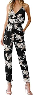 Women Jumpsuit, Summer Women Backless Sleeveless V-Neck Floral Printed Party Jumpsuit Long Trousers