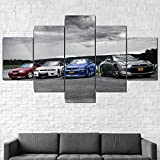 Cuadro Moderno En Lienzo 5 Piezas Nissan Skyline GTR R32 R33 R34 Cuadro De Pintura Póster De Arte Moderno Oficina Sala De Estar O Dormitorio Decoración del Hogar Arte De Pared 200X100CM