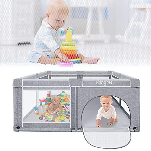 Aufun Box per bambini, misura XXL, con spazio per giochi di sicurezza, per bambini, grigio (200 x 180 x 68 cm)