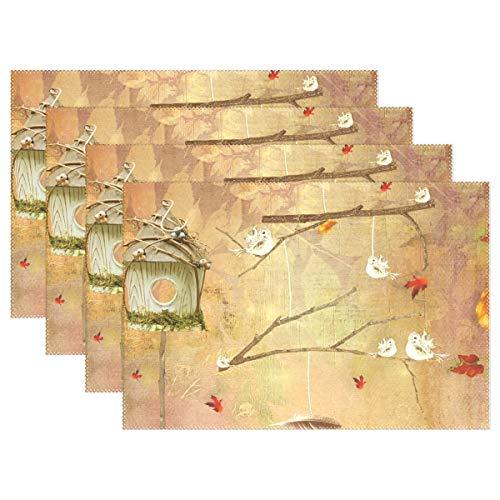 FANTAZIO Tischsets Vogelhaus mit Herbstblättern Tischsets für Küche Esstisch Dekoration waschbar langlebig, Polyester, 1, 6 Stück
